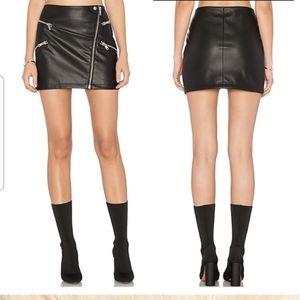 NEW Avec Les Filles Faux Leather Moto Mini Skirt